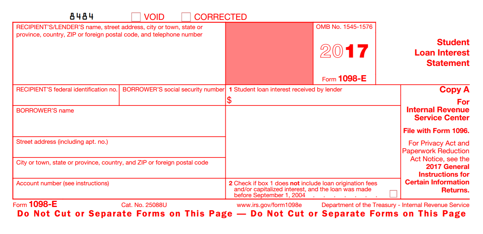 2017 form 1098 instructions