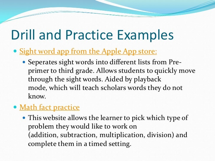 instructional software drill and practice