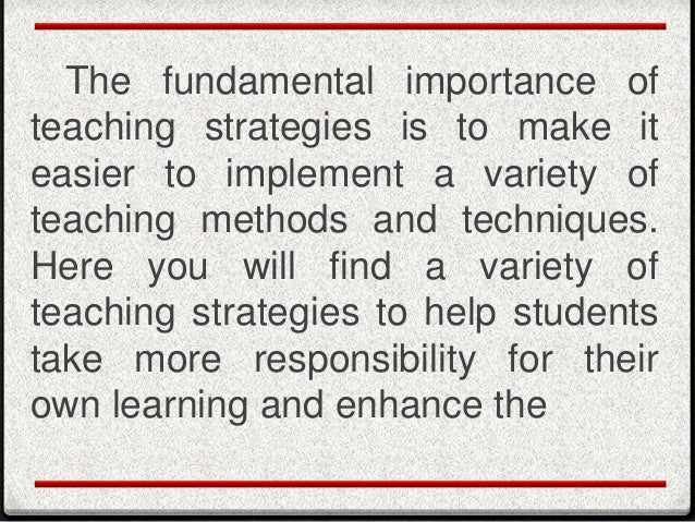 importance of instructional methods